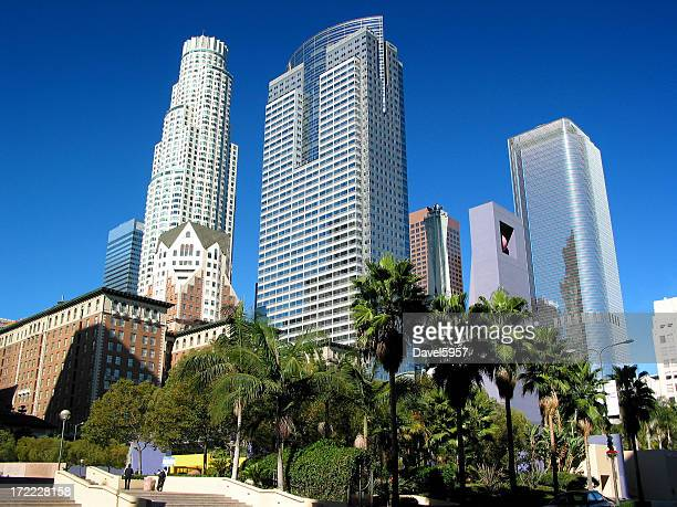 daytime view of los angeles skyscrapers - pershing square stock photos and pictures
