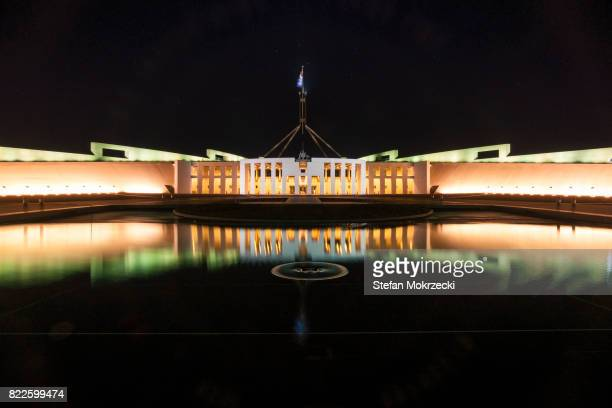 daytime view of parliament house, canberra, australia - canberra stock pictures, royalty-free photos & images