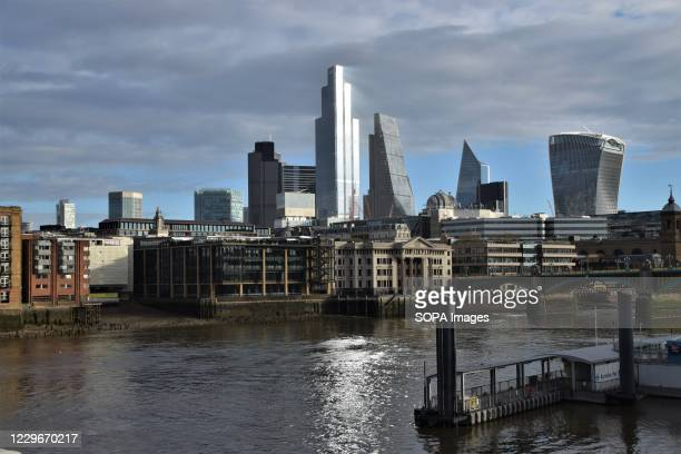Daytime view of the City of London skyline, where many offices remain closed. Most places and businesses have closed as the second month-long...
