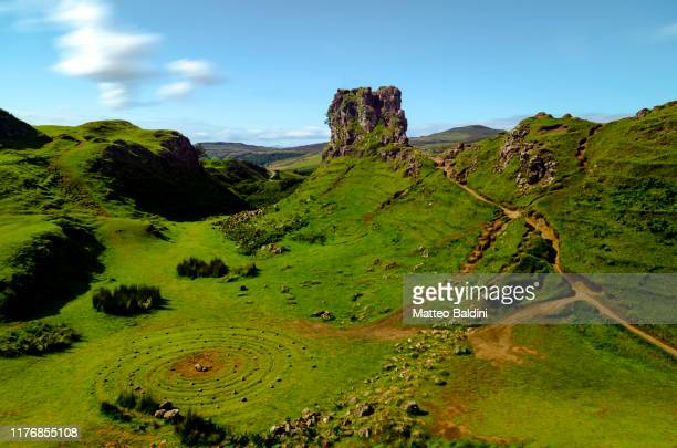 daytime view of the fairy glen in the isle of skye, scotland. long exposure, few clouds and saturated colors - famous place stock pictures, royalty-free photos & images