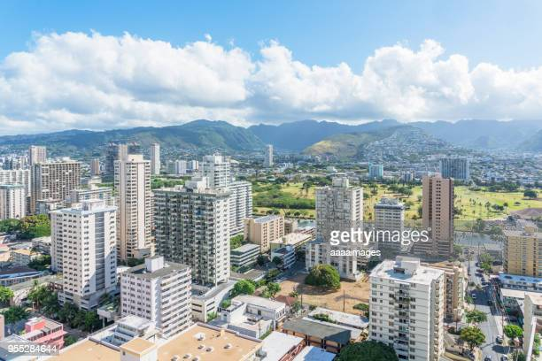 daytime view of waikiki's towering condominiums and hotels - honolulu stock pictures, royalty-free photos & images