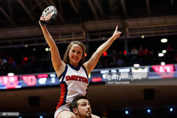 Dayton Flyer cheerleader performs during the second half of a game between the Dayton Flyers and the Tennessee Tech Golden Eagles at University of...