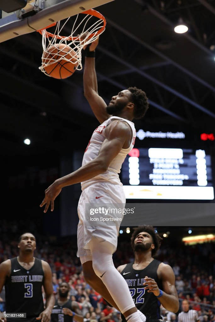 Dayton Flyers forward Josh Cunningham (0) dunks the ball in a game between the Dayton Flyers and the Saint Louis Billikens on February 20, 2018 at University of Dayton Arena in Dayton, OH. The Flyers won 53-50.