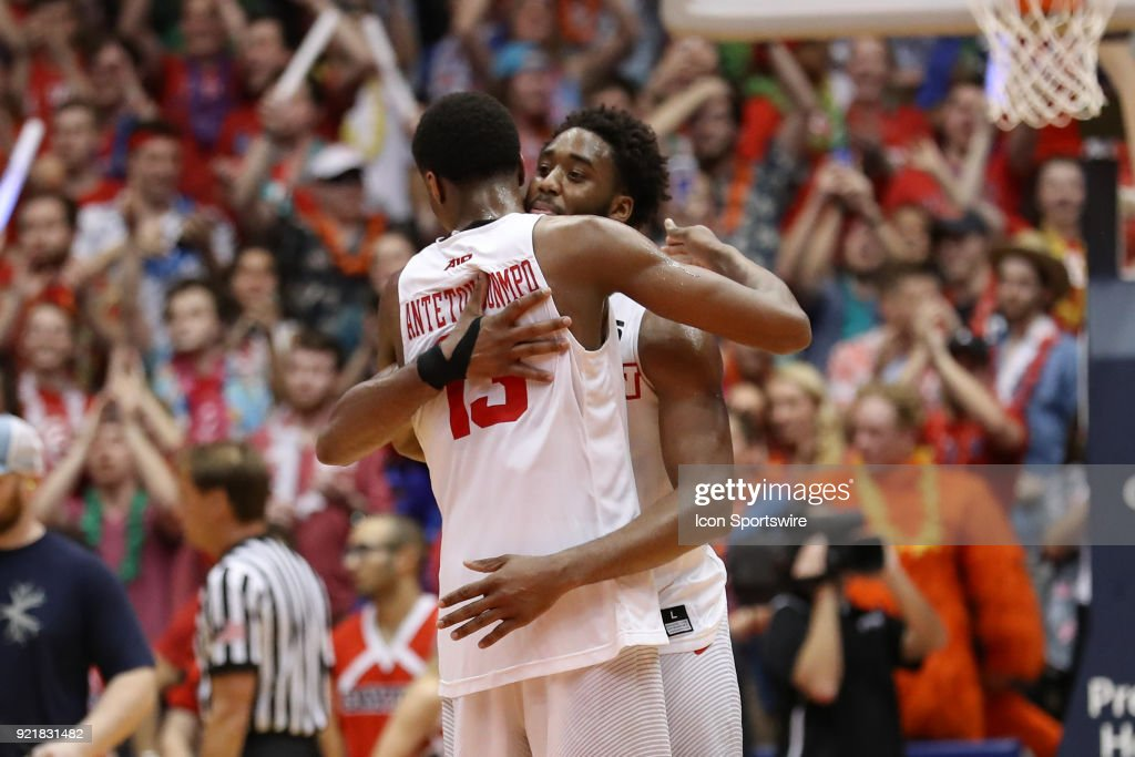 Dayton Flyers forward Kostas Antetokounmpo (13) and Dayton Flyers forward Josh Cunningham (0) hug after winning an intense game between the Dayton Flyers and the Saint Louis Billikens on February 20, 2018 at University of Dayton Arena in Dayton, OH. The Flyers won 53-50.