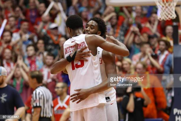 Dayton Flyers forward Kostas Antetokounmpo and Dayton Flyers forward Josh Cunningham hug after winning an intense game between the Dayton Flyers and...