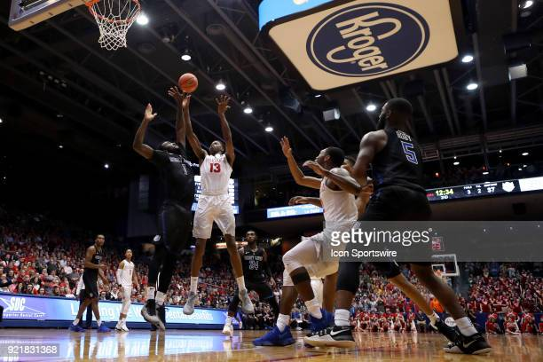 Dayton Flyers forward Kostas Antetokounmpo attempts a two point shot in a game between the Dayton Flyers and the Saint Louis Billikens on February 20...