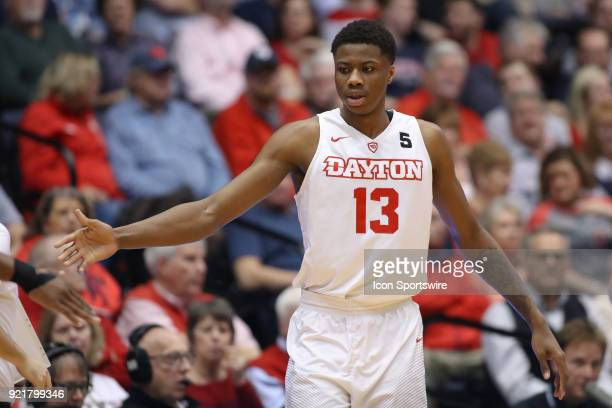 Dayton Flyers forward Kostas Antetokounmpo celebrates after making a shot in a game between the Dayton Flyers and the Saint Louis Billikens on...