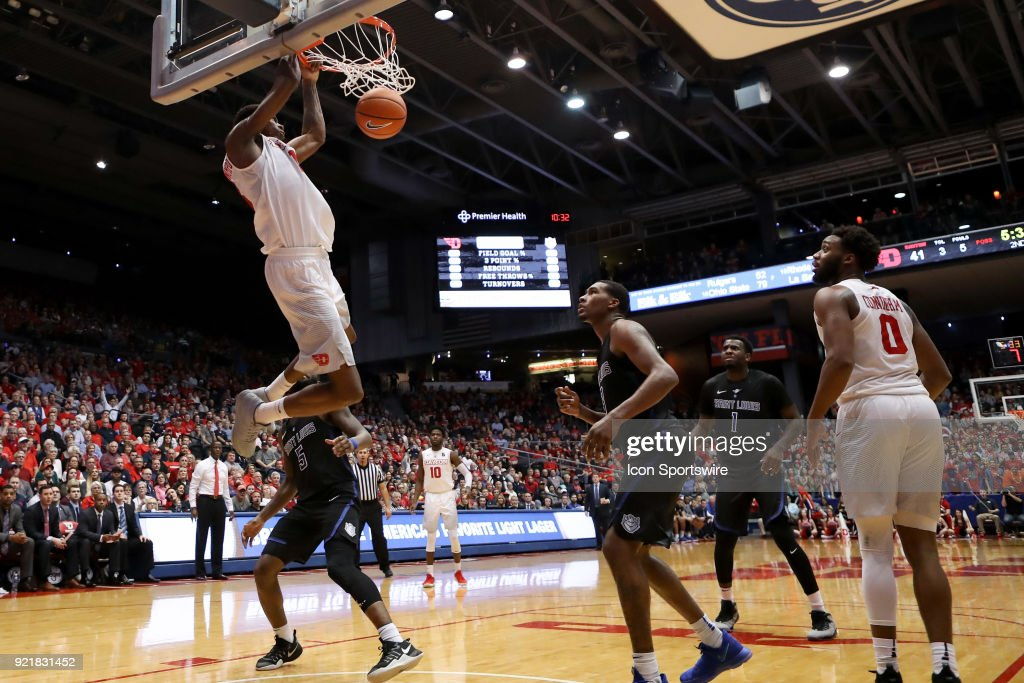 Dayton Flyers forward Kostas Antetokounmpo (13) dunks the ball in a game between the Dayton Flyers and the Saint Louis Billikens on February 20, 2018 at University of Dayton Arena in Dayton, OH. The Flyers won 53-50.