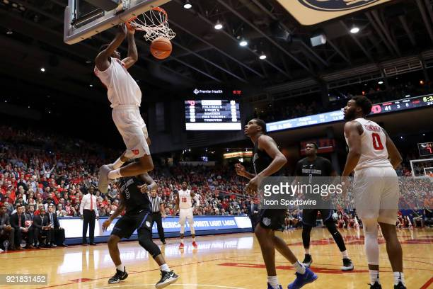 Dayton Flyers forward Kostas Antetokounmpo dunks the ball in a game between the Dayton Flyers and the Saint Louis Billikens on February 20 2018 at...