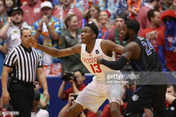 Dayton Flyers forward Kostas Antetokounmpo looks for an inbound pass in a game between the Dayton Flyers and the Saint Louis Billikens on February 20...