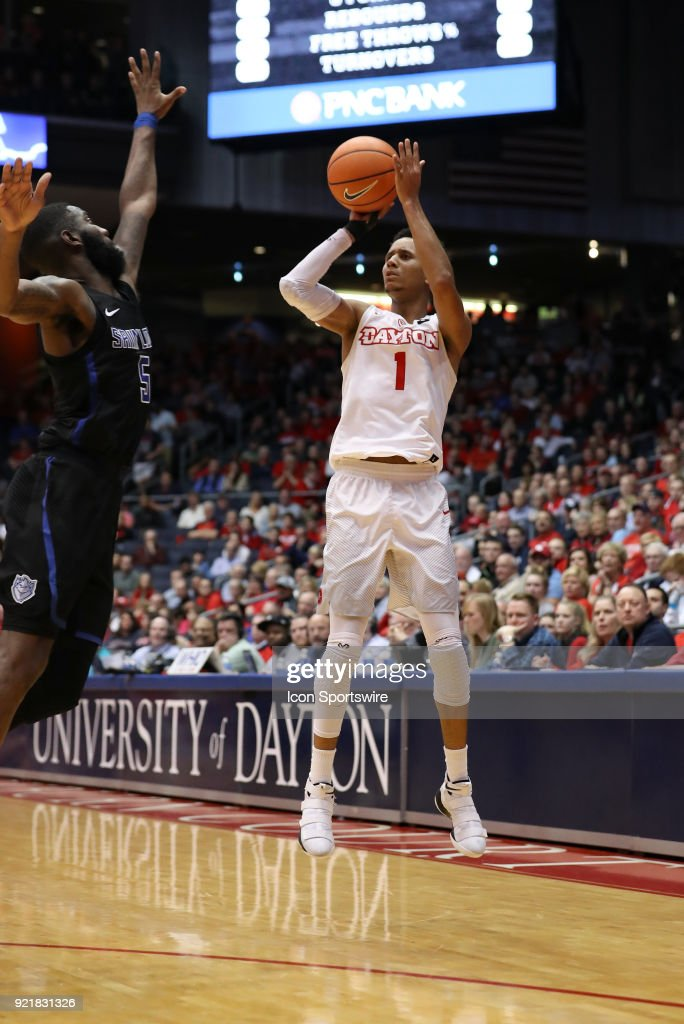 Dayton Flyers guard Darrell Davis (1) attempts a three point shot in a game between the Dayton Flyers and the Saint Louis Billikens on February 20, 2018 at University of Dayton Arena in Dayton, OH. The Flyers won 53-50.