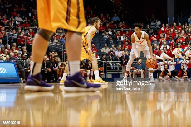 Dayton Flyers guard Darrell Davis dribbles the ball during the second half of a game between the Dayton Flyers and the Tennessee Tech Golden Eagles...