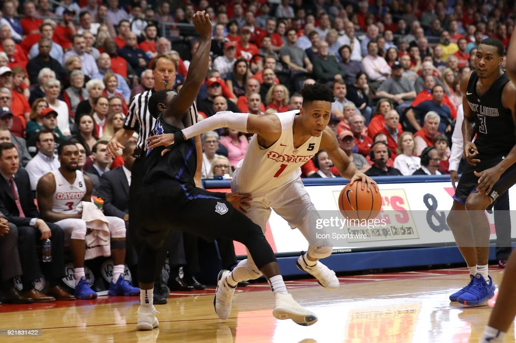 Dayton Flyers guard Darrell Davis (1) dribbles the ball in a game between the Dayton Flyers and the Saint Louis Billikens on February 20, 2018 at University of Dayton Arena in Dayton, OH. The Flyers won 53-50.