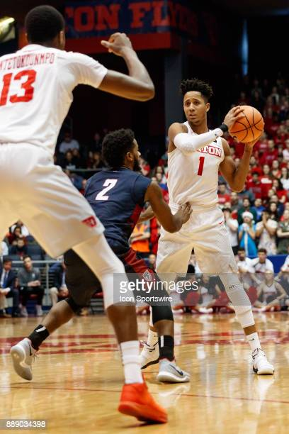 Dayton Flyers guard Darrell Davis looks to pass the ball to Dayton Flyers forward Kostas Antetokounmpo during the second half of a game between the...