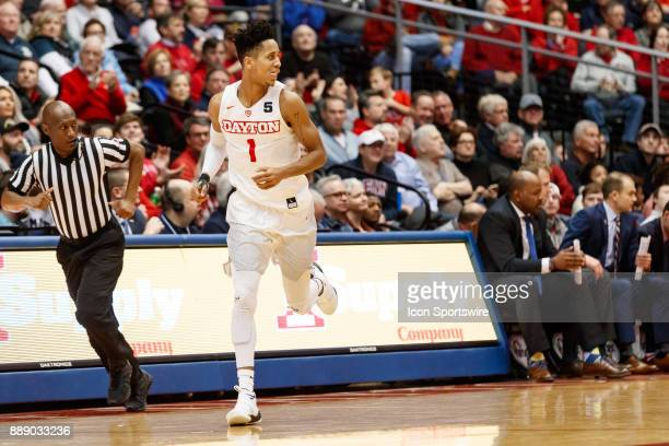 Dayton Flyers guard Darrell Davis reacts after making a three point shot during the first half of a game between the Dayton Flyers and the...