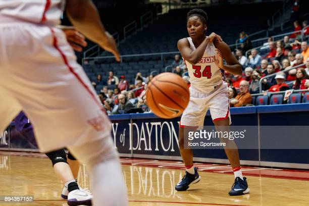 Dayton Flyers guard Javonna Layfield passes the ball during a game between the James Madison Dukes and the Dayton Flyers on December 17 2017 at...