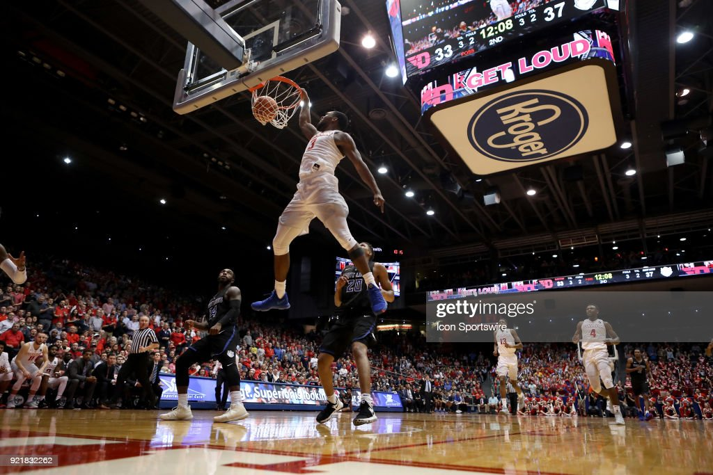 Dayton Flyers guard Trey Landers (3) dunks the ball in a game between the Dayton Flyers and the Saint Louis Billikens on February 20, 2018 at University of Dayton Arena in Dayton, OH. The Flyers won 53-50.