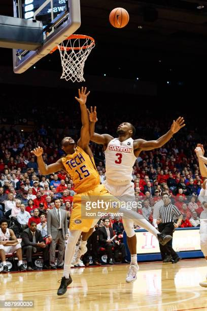 Dayton Flyers guard Trey Landers lays the ball up while Tennessee Tech Golden Eagles forward Curtis Phillips Jr defends during the second half of a...