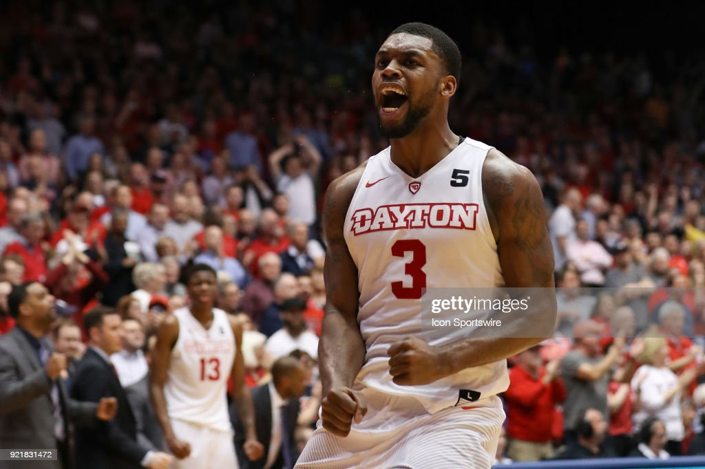Dayton Flyers guard Trey Landers (3) reacts in a game between the Dayton Flyers and the Saint Louis Billikens on February 20, 2018 at University of Dayton Arena in Dayton, OH. The Flyers won 53-50.