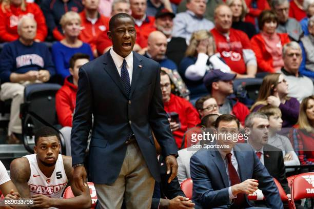 Dayton Flyers head coach Anthony Grant reacts during the first half of a game between the Dayton Flyers and the Pennsylvania Quakers on December 09...