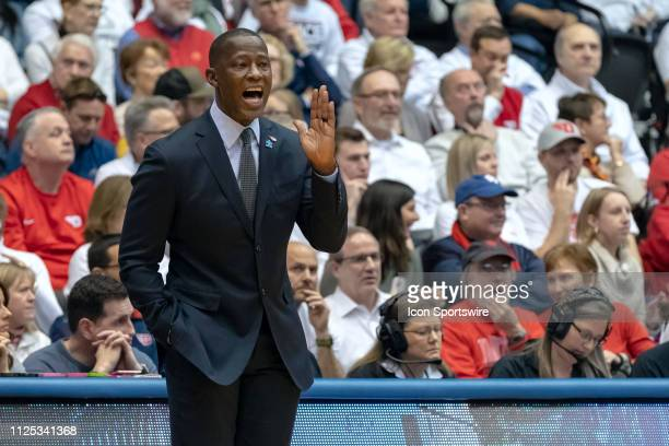 Dayton Flyers head coach Anthony Grant reacts in a game between the Dayton Flyers and the Virginia Commonwealth Rams on February 16 2019 at...