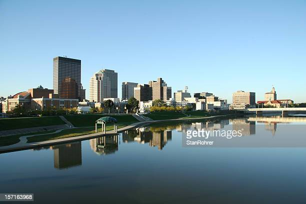 dayton morning cityscape skyline - ohio stock photos and pictures