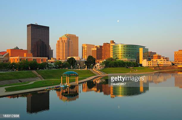 dayton, oh skyline at sunrise - ohio stock photos and pictures