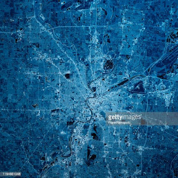 dayton ohio 3d render kaart blauw top view mar 2019 - frankramspott stockfoto's en -beelden