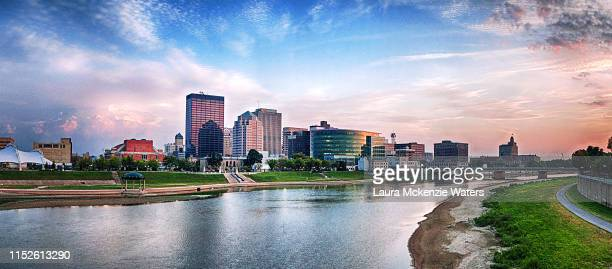 dayton, ohio at dusk - ohio stock photos and pictures