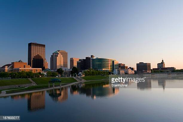dayton ohio cityscape skyline at dusk - ohio stock pictures, royalty-free photos & images