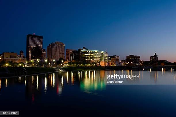 dayton ohio cityscape skyline at late dusk - ohio stock photos and pictures