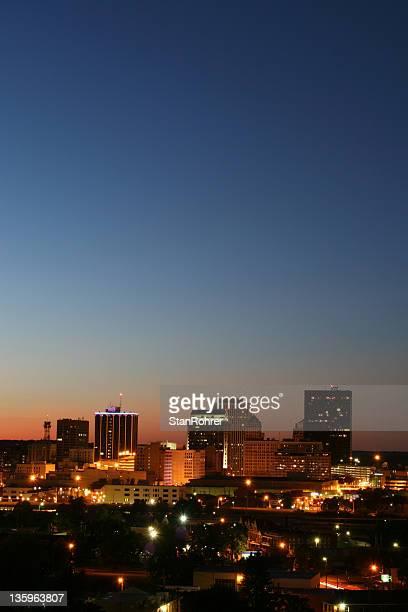 dayton ohio dusk cityscape vertical, skyline - dayton ohio stock pictures, royalty-free photos & images