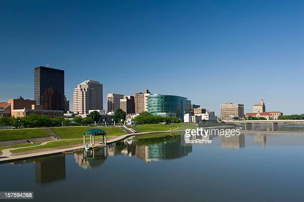 Dayton Ohio morning city scape and its reflection