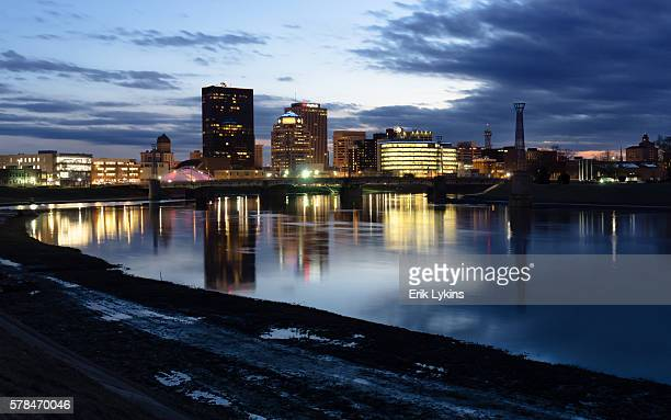 dayton, ohio skyline in the evening - ohio stock photos and pictures