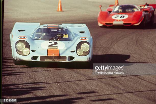 Daytona 24 Hour Race he number two GulfPorsche 917K driven by Pedro Rodriguez Leo Kinnunen and Brian Redman leads the Ferrari 512S of Mario Andretti...