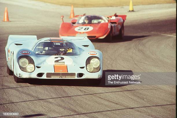 Daytona 24 Hour Race The number two GulfPorsche 917K driven by Pedro Rodriguez Leo Kinnunen and Brian Redman leads the Ferrari 512S of Mario Andretti...
