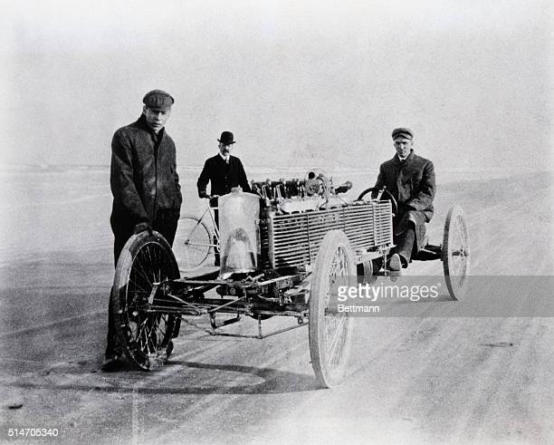 Daytona Beach, FL: Henry Ford and August Degener, an early colleague, with a special six-cylinder Ford racer at Daytona Beach, FL, in 1905. This...