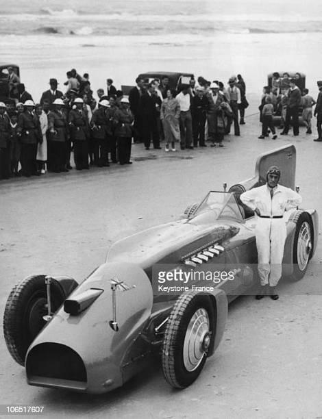 Daytona Beach Road Course Malcolm Campbell And His Car Bluebird