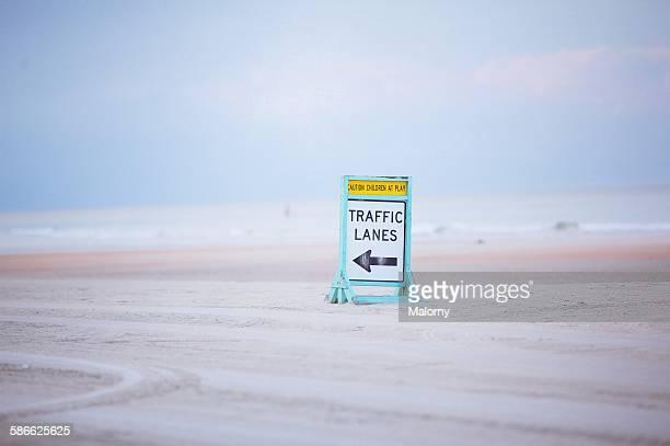 Daytona Beach. Traffic lanes for cars on beach