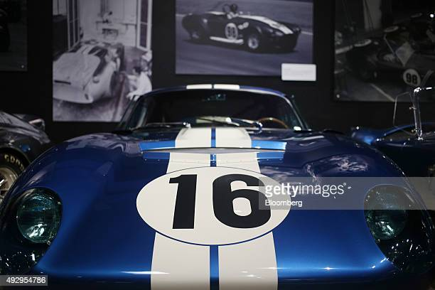 Daytona coupe vehicle sits on display inside the Shelby American Inc world headquarters in Las Vegas Nevada US on Wednesday Oct 14 2015 Shelby...