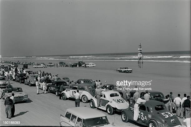 Daytona Flying Mile and Acceleration Runs Cars line up to wait their turn for timed runs down the hardpacked sand of Daytona beach