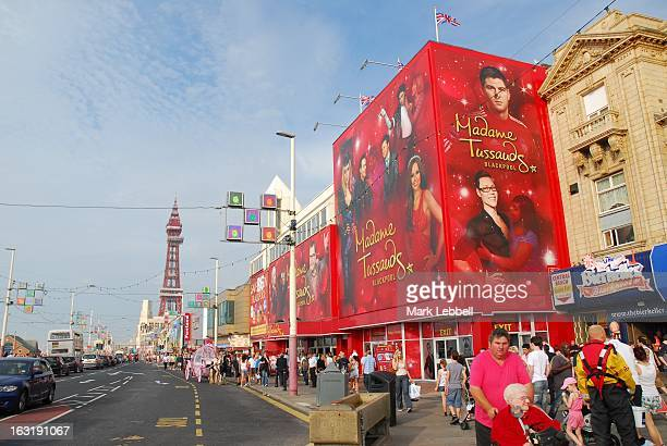 Daytrippers outside Madame Tussauds, Blackpool, England.