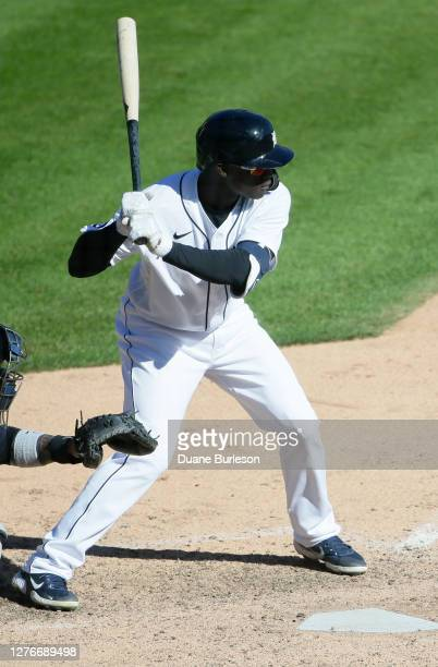Daz Cameron of the Detroit Tigers bats against the Cleveland Indians at Comerica Park on September 20 in Detroit Michigan