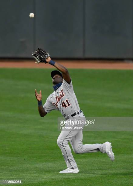 Daz Cameron of the Detroit Tigers makes a catch in right field of the ball hit by Mitch Garver of the Minnesota Twins during the first inning of the...