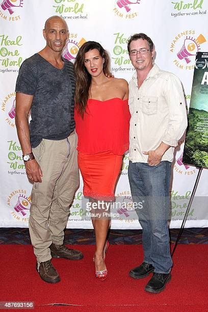 Daz Crawford Natalie Burn and Jason London attend the Premiere of 'Awaken' during the 2015 Awareness Film Festival at Regal 14 at LA Live Downtown on...