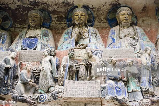 Dazu rock carvings buddhas and religious scene at Mount Baoding Chongqing China