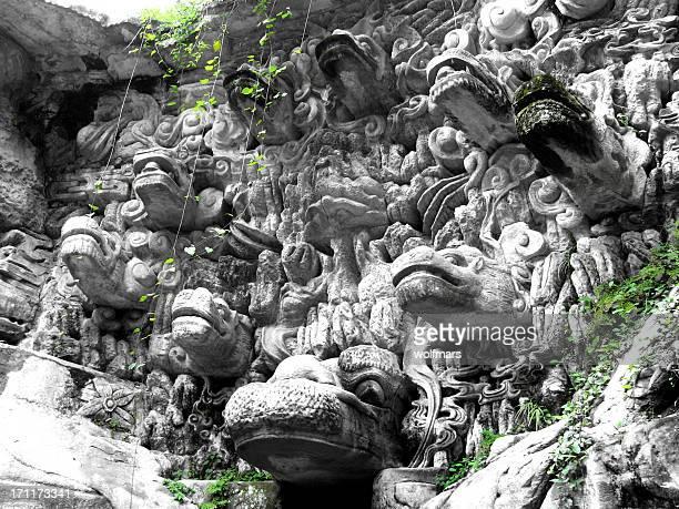 dazu rock carvings - dazu stock photos and pictures
