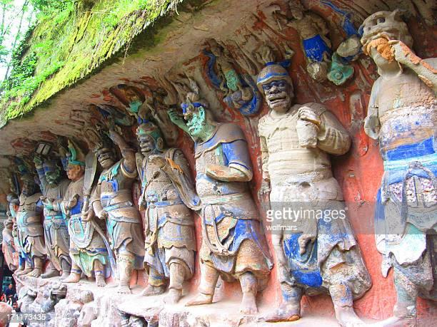 dazu rock carvings - dazu rock carvings stock photos and pictures