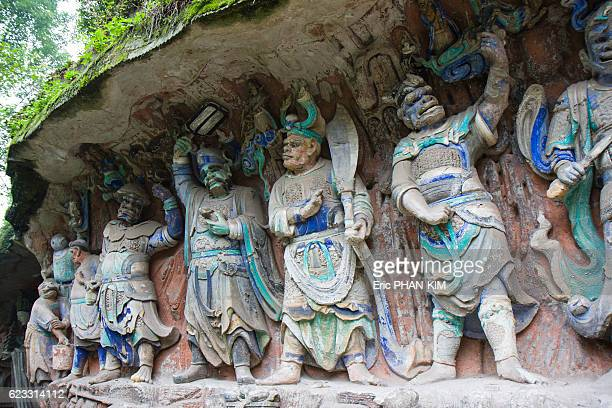 dazu rock carvings, sichuan, china - dazu rock carvings stock photos and pictures
