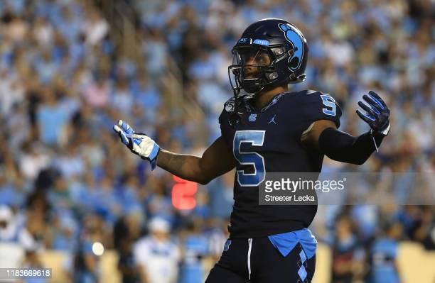 Dazz Newsome of the North Carolina Tar Heels reacts after a play during their game against the Duke Blue Devils at Kenan Stadium on October 26 2019...